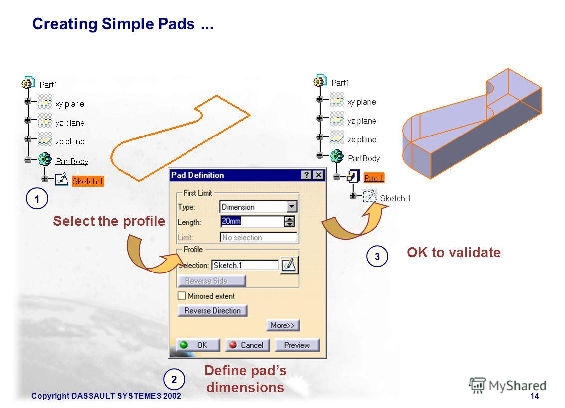 Copyright DASSAULT SYSTEMES 200214 Creating Simple Pads... Select the profile Define pads dimensions 2 1 OK to validate 3