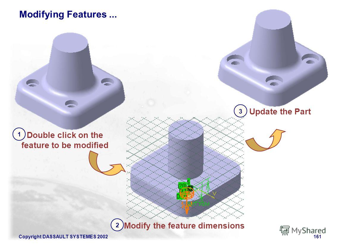 Copyright DASSAULT SYSTEMES 2002161 Modifying Features... Double click on the feature to be modified 1 Modify the feature dimensions 2 Update the Part 3