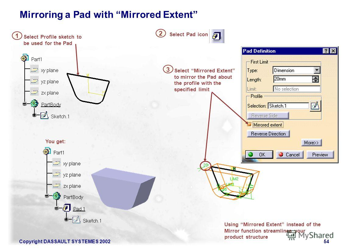 Copyright DASSAULT SYSTEMES 200254 Using Mirrored Extent instead of the Mirror function streamlines your product structure Select Profile sketch to be used for the Pad 1 Select Pad icon 2 Select Mirrored Extent to mirror the Pad about the profile wit