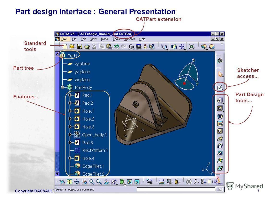 Copyright DASSAULT SYSTEMES 20027 CATPart extension Part Design tools... Sketcher access... Part tree Standard tools Features... Part design Interface : General Presentation