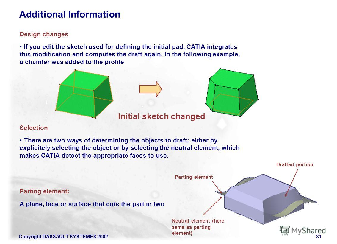 Copyright DASSAULT SYSTEMES 200281 Initial sketch changed If you edit the sketch used for defining the initial pad, CATIA integrates this modification and computes the draft again. In the following example, a chamfer was added to the profile Design c