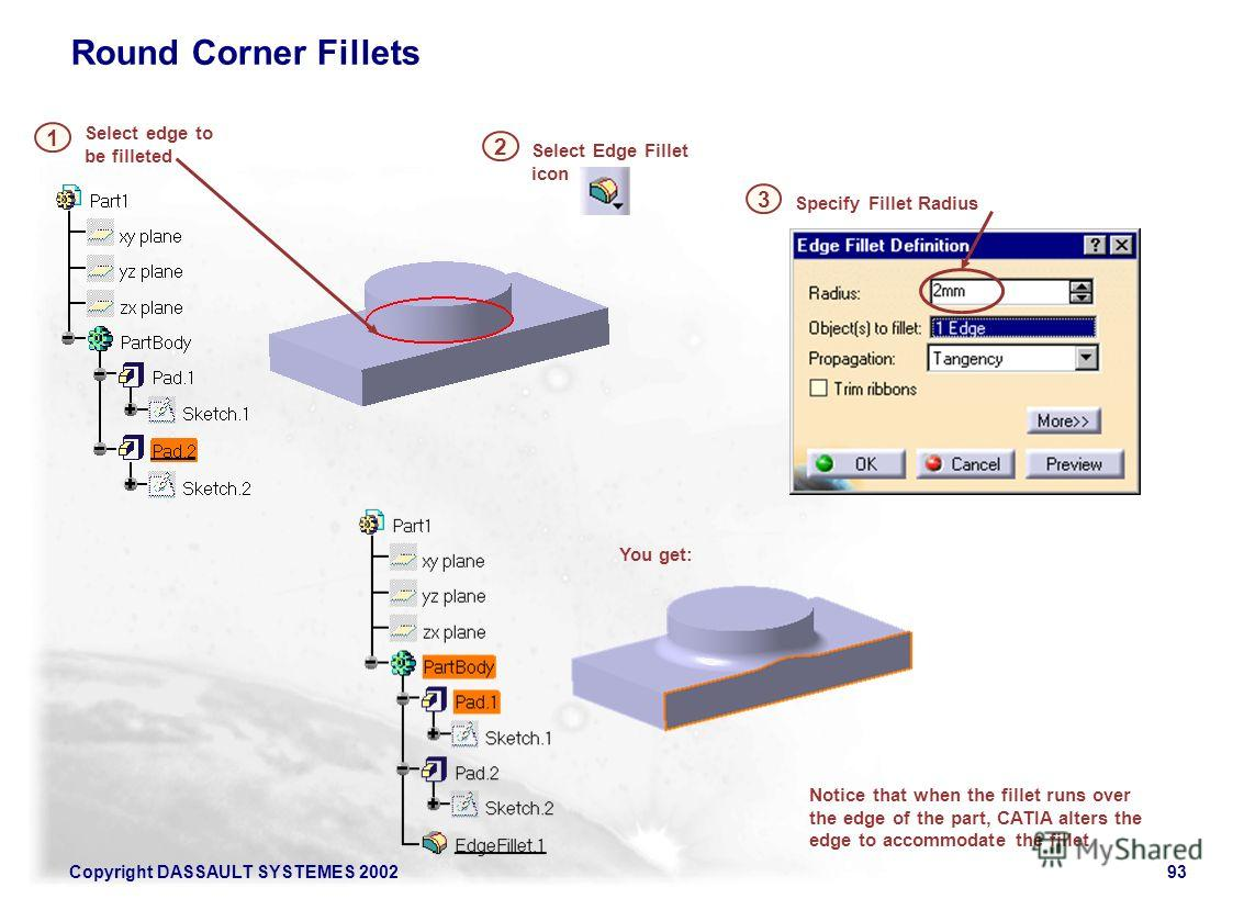 Copyright DASSAULT SYSTEMES 200293 Notice that when the fillet runs over the edge of the part, CATIA alters the edge to accommodate the fillet Specify Fillet Radius Select Edge Fillet icon Select edge to be filleted 1 Round Corner Fillets 2 3 You get
