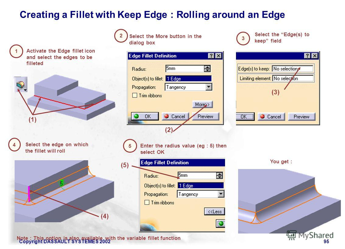 Copyright DASSAULT SYSTEMES 200295 1 Activate the Edge fillet icon and select the edges to be filleted 2 Select the More button in the dialog box (2) 3 Select the Edge(s) to keep field (1) 4 Select the edge on which the fillet will roll You get : (3)