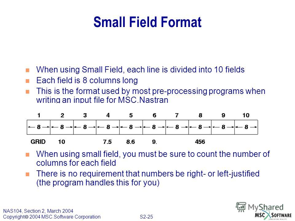 S2-25 NAS104, Section 2, March 2004 Copyright 2004 MSC.Software Corporation Small Field Format n When using Small Field, each line is divided into 10 fields n Each field is 8 columns long n This is the format used by most pre-processing programs when
