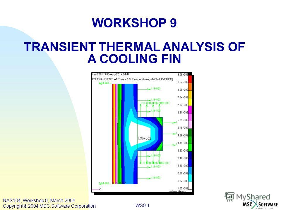 WS9-1 WORKSHOP 9 TRANSIENT THERMAL ANALYSIS OF A COOLING FIN NAS104, Workshop 9, March 2004 Copyright 2004 MSC.Software Corporation