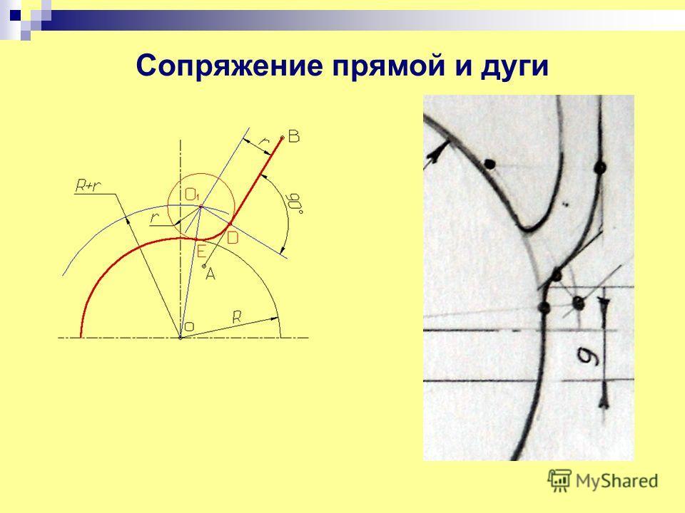 Сопряжение прямой и дуги