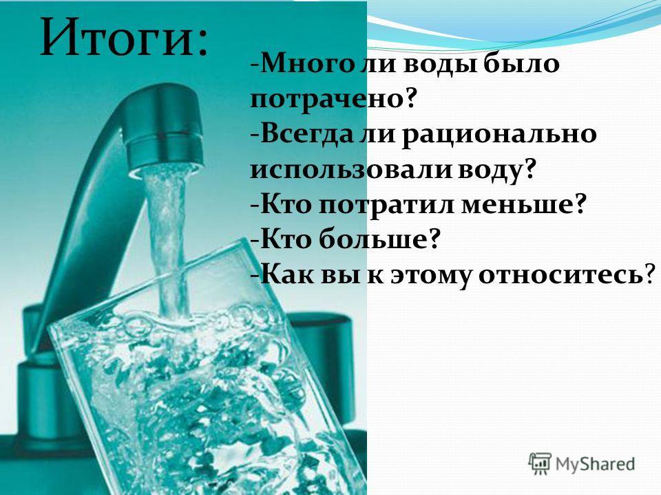 Итоги: -Много ли воды было потрачено? -Всегда ли рационально использовали воду? -Кто потратил меньше? -Кто больше? -Как вы к этому относитесь?
