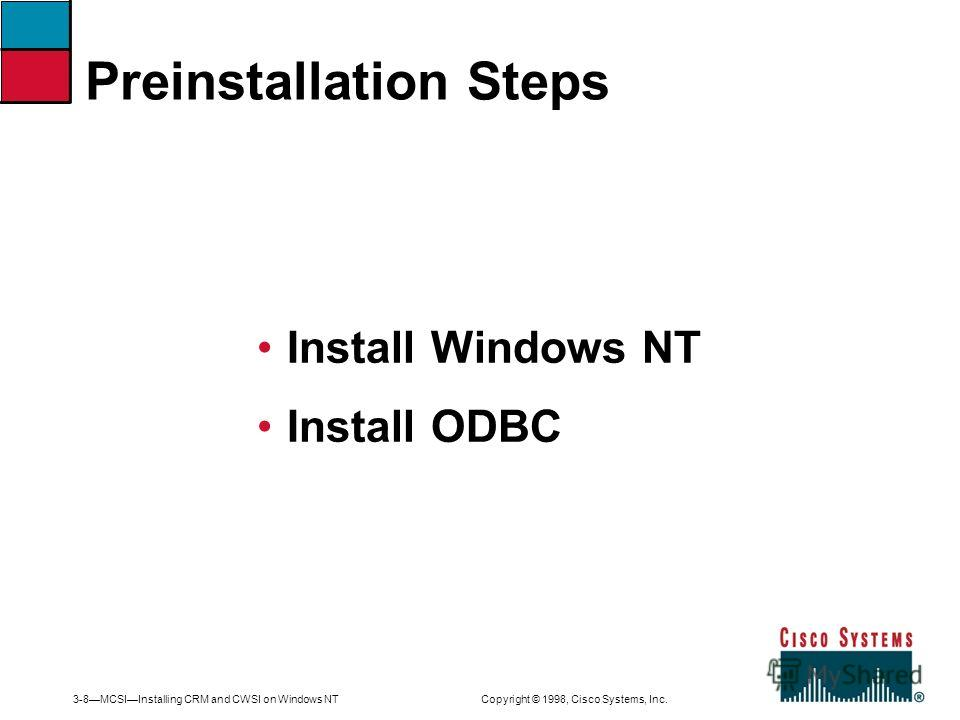3-8MCSIInstalling CRM and CWSI on Windows NT Copyright © 1998, Cisco Systems, Inc. Install Windows NT Install ODBC Preinstallation Steps