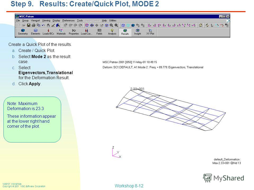 Workshop 8-12 NAS101 Workshops Copyright 2001 MSC.Software Corporation Step 9. Results: Create/Quick Plot, MODE 2 Create a Quick Plot of the results. a.Create / Quick Plot. b.Select Mode 2 as the result case. c.Select Eigenvectors,Translational for t