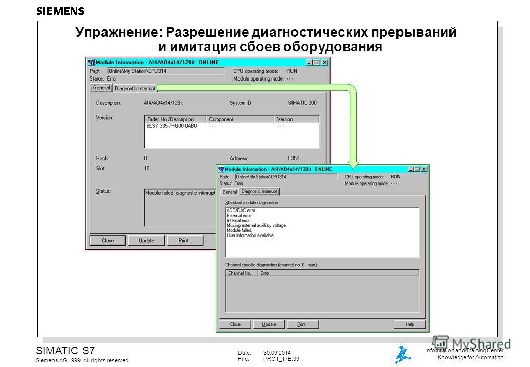 Date:30.09.2014 File: PRO1_17E.39 SIMATIC S7 Siemens AG 1999. All rights reserved. Information and Training Center Knowledge for Automation Упражнение: Разрешение диагностических прерываний и имитация сбоев оборудования
