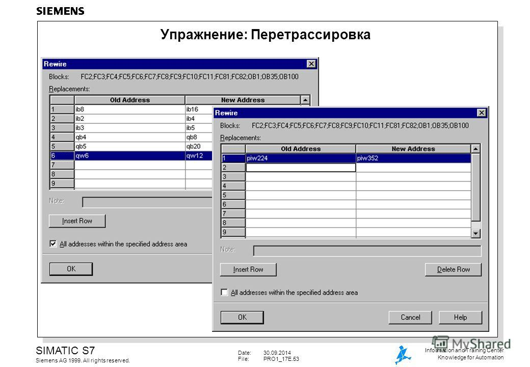 Date:30.09.2014 File: PRO1_17E.53 SIMATIC S7 Siemens AG 1999. All rights reserved. Information and Training Center Knowledge for Automation Упражнение: Перетрассировка