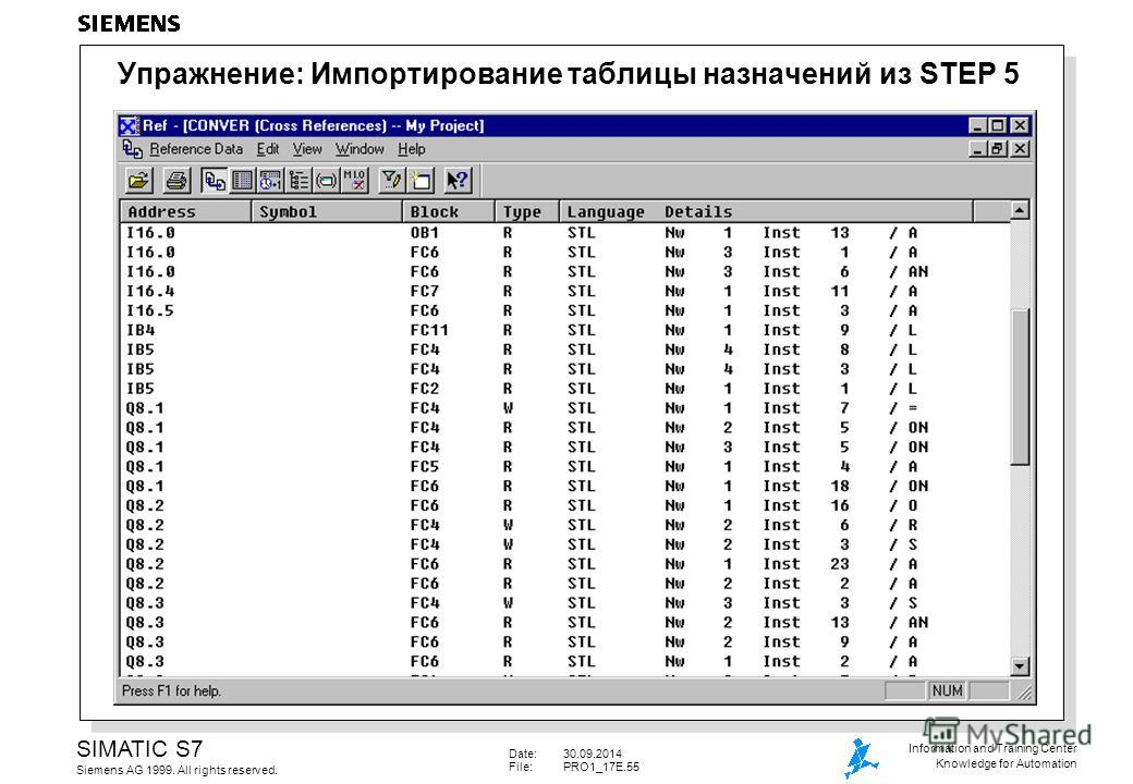 Date:30.09.2014 File: PRO1_17E.55 SIMATIC S7 Siemens AG 1999. All rights reserved. Information and Training Center Knowledge for Automation Упражнение: Импортирование таблицы назначений из STEP 5