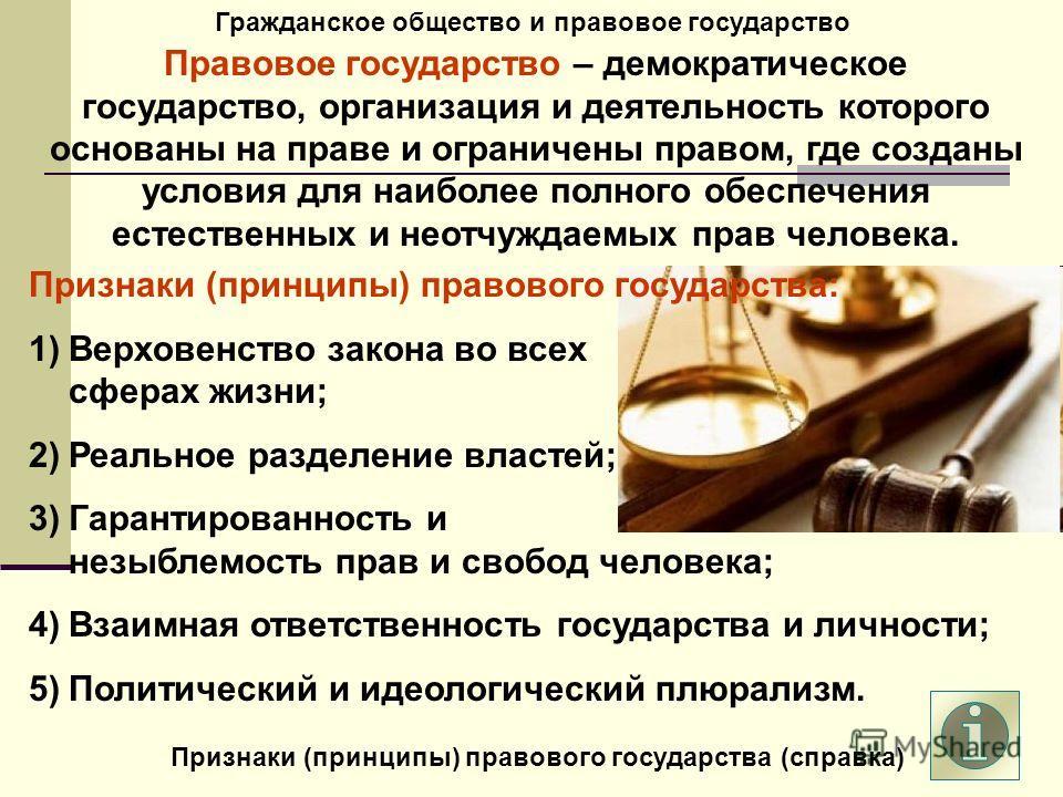 Гражданское общество и правовое государство Правовое государство – демократическое государство, организация и деятельность которого основаны на праве и ограничены правом, где созданы условия для наиболее полного обеспечения естественных и неотчуждаем
