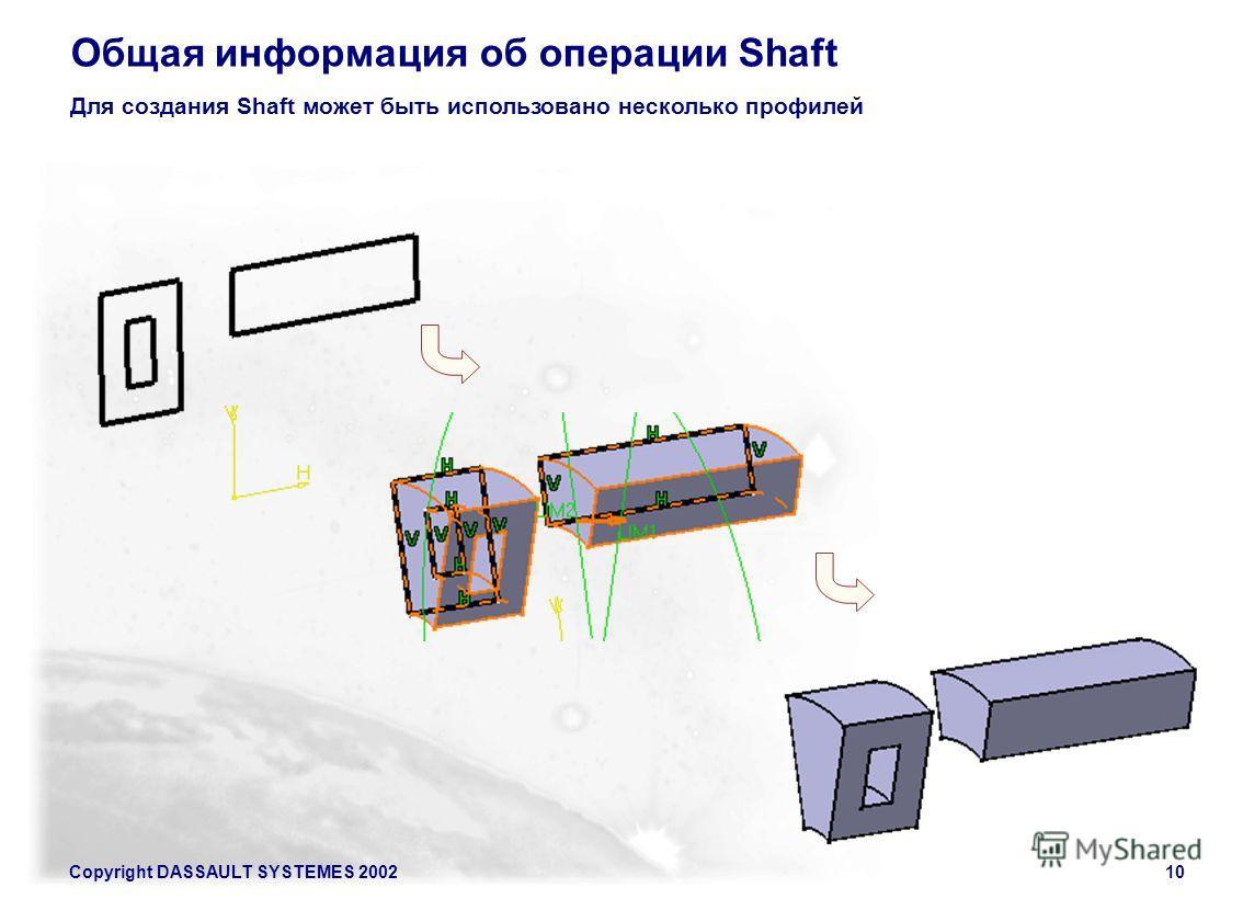 Copyright DASSAULT SYSTEMES 200210 Общая информация об операции Shaft Для создания Shaft может быть использовано несколько профилей