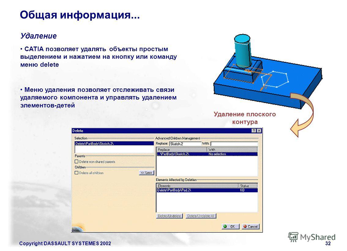 Copyright DASSAULT SYSTEMES 200232 Общая информация... CATIA позволяет удалять объекты простым выделением и нажатием на кнопку или команду меню delete Удаление Меню удаления позволяет отслеживать связи удаляемого компонента и управлять удалением элем