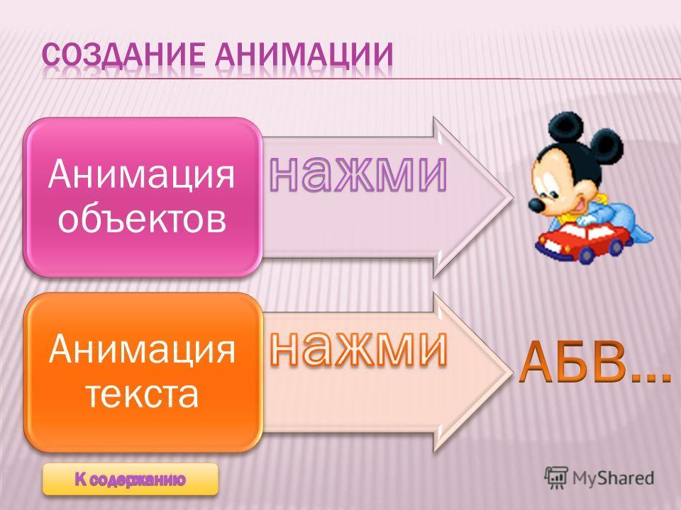 Анимация объектов Анимация текста