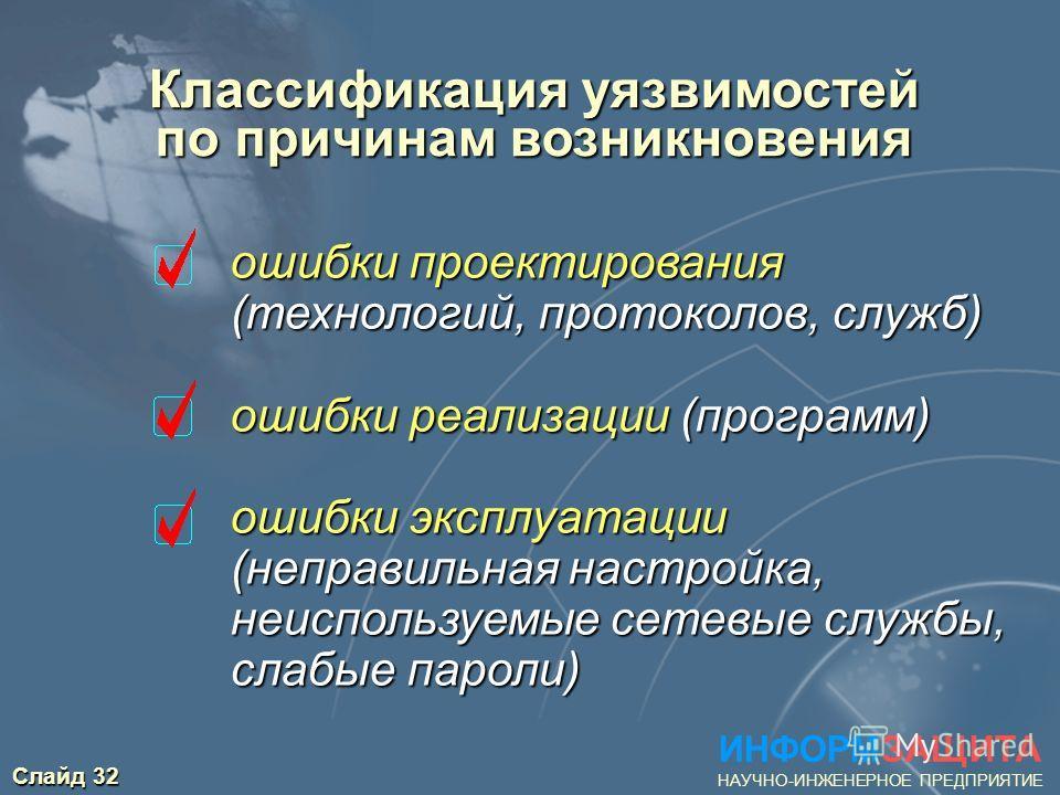 Слайд 32 Классификация уязвимостей по причинам возникновения ИНФОРМЗАЩИТА НАУЧНО-ИНЖЕНЕРНОЕ ПРЕДПРИЯТИЕ ошибки проектирования (технологий, протоколов, служб) ошибки реализации (программ) ошибки эксплуатации (неправильная настройка, неиспользуемые сет