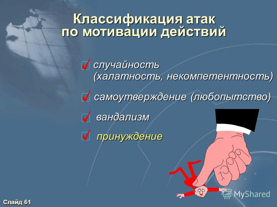 Слайд 61 Классификация атак по мотивации действий случайность случайность (халатность, некомпетентность) (халатность, некомпетентность) самоутверждение (любопытство) вандализм принуждение