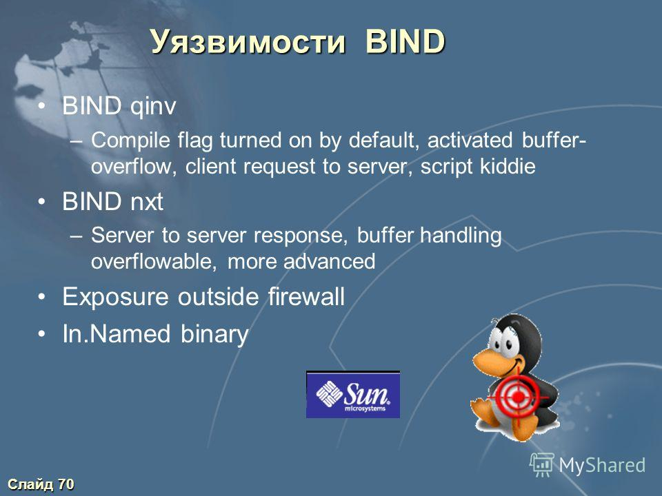 Слайд 70 Уязвимости BIND BIND qinv –Compile flag turned on by default, activated buffer- overflow, client request to server, script kiddie BIND nxt –Server to server response, buffer handling overflowable, more advanced Exposure outside firewall In.N