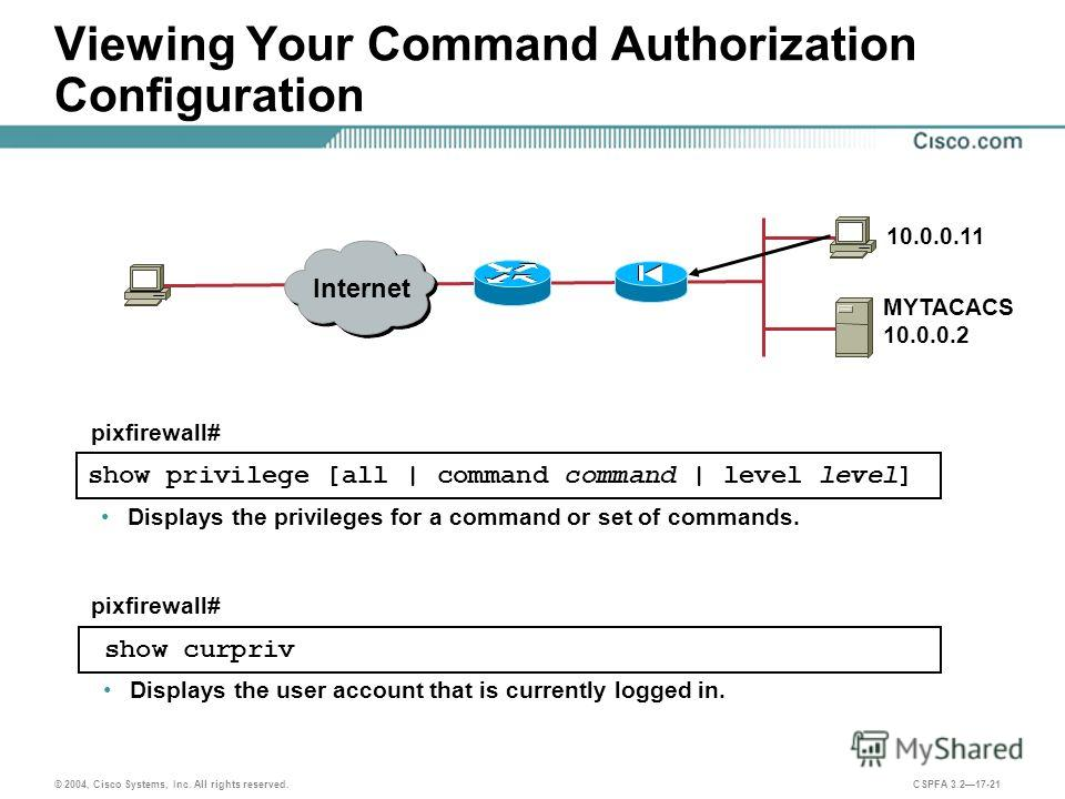 © 2004, Cisco Systems, Inc. All rights reserved. CSPFA 3.217-21 Viewing Your Command Authorization Configuration Displays the privileges for a command or set of commands. show privilege [all | command command | level level] pixfirewall# Displays the