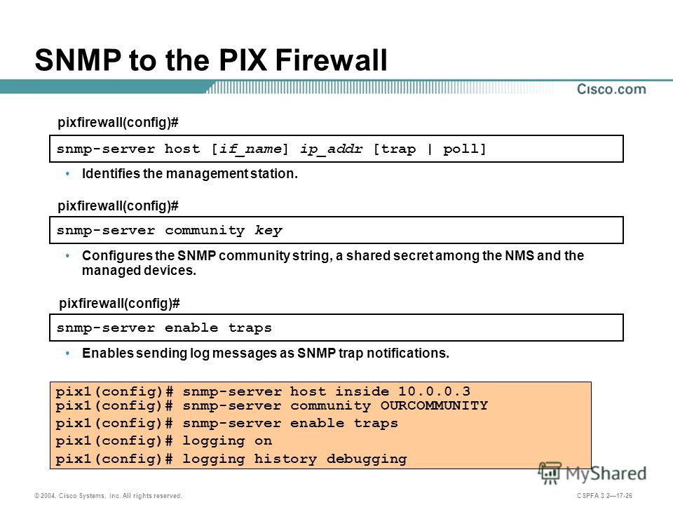 © 2004, Cisco Systems, Inc. All rights reserved. CSPFA 3.217-26 SNMP to the PIX Firewall Configures the SNMP community string, a shared secret among the NMS and the managed devices. snmp-server host [if_name] ip_addr [trap | poll] pixfirewall(config)
