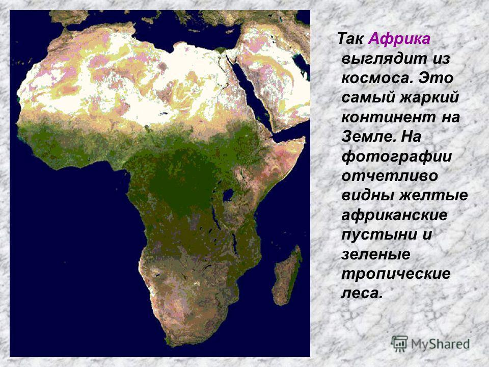 Так Африка выглядит из космоса. Это самый жаркий континент на Земле. На фотографии отчетливо видны желтые африканские пустыни и зеленые тропические леса.