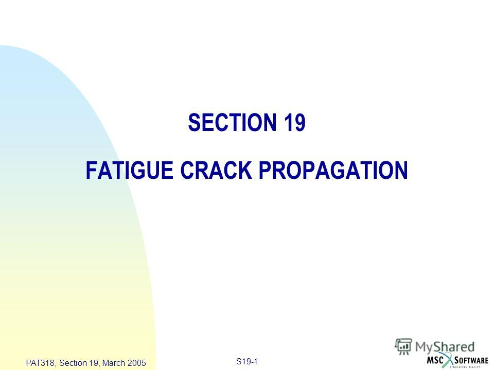 S19-1 PAT318, Section 19, March 2005 SECTION 19 FATIGUE CRACK PROPAGATION