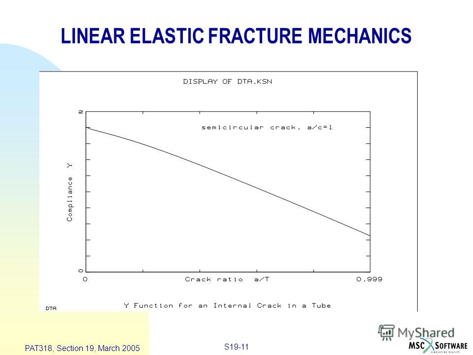 S19-11 PAT318, Section 19, March 2005 LINEAR ELASTIC FRACTURE MECHANICS