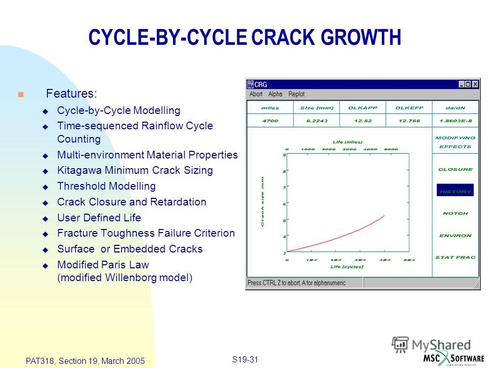 S19-31 PAT318, Section 19, March 2005 CYCLE-BY-CYCLE CRACK GROWTH n Features: u Cycle-by-Cycle Modelling u Time-sequenced Rainflow Cycle Counting u Multi-environment Material Properties u Kitagawa Minimum Crack Sizing u Threshold Modelling u Crack Cl
