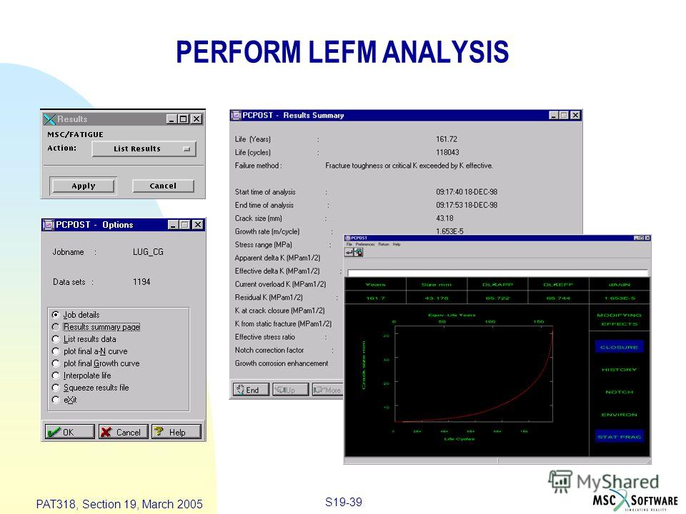 S19-39 PAT318, Section 19, March 2005 PERFORM LEFM ANALYSIS
