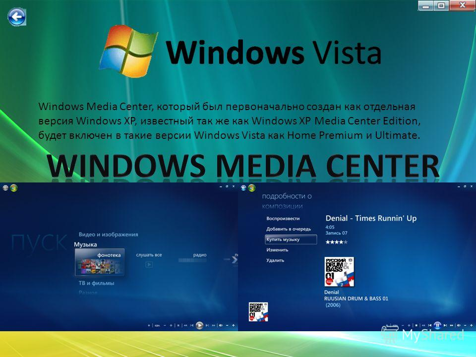 Windows Media Center, который был первоначально создан как отдельная версия Windows XP, известный так же как Windows XP Media Center Edition, будет включен в такие версии Windows Vista как Home Premium и Ultimate.