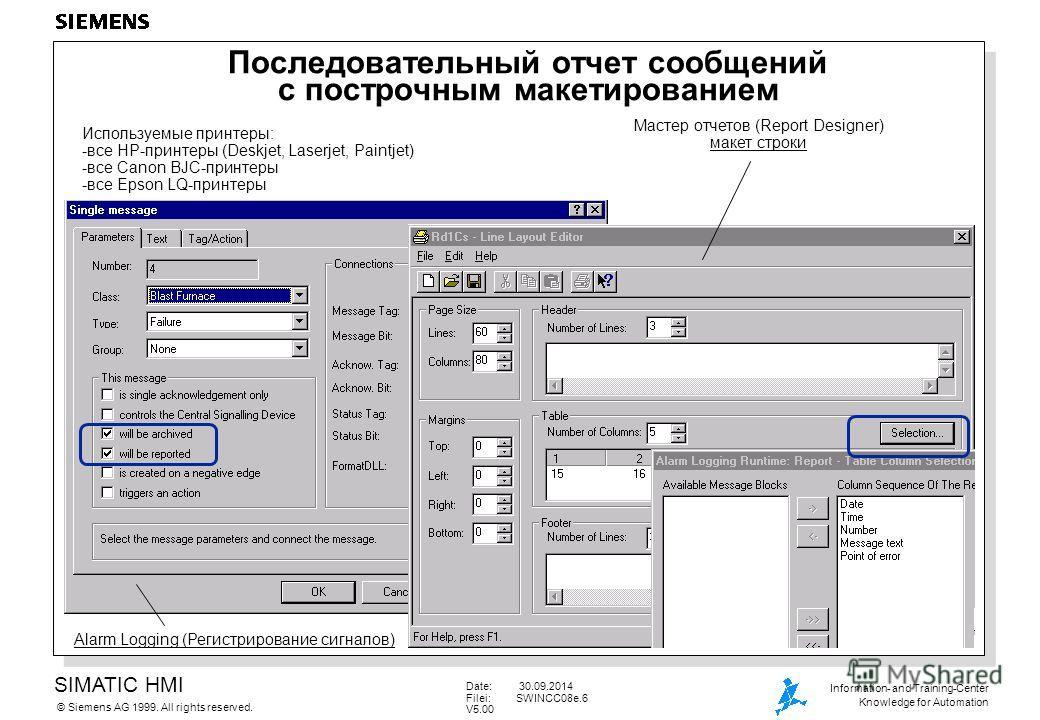 SIMATIC HMI Siemens AG 1999. All rights reserved.© Information- and Training-Center Knowledge for Automation Date: 30.09.2014 Filei:SWINCC08e.6 V5.00 Последовательный отчет сообщений с построчным макетированием Alarm Logging (Регистрирование сигналов