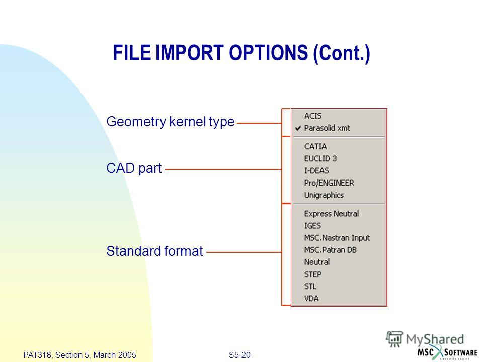 S5-20 PAT318, Section 5, March 2005 FILE IMPORT OPTIONS (Cont.) Geometry kernel type CAD part Standard format