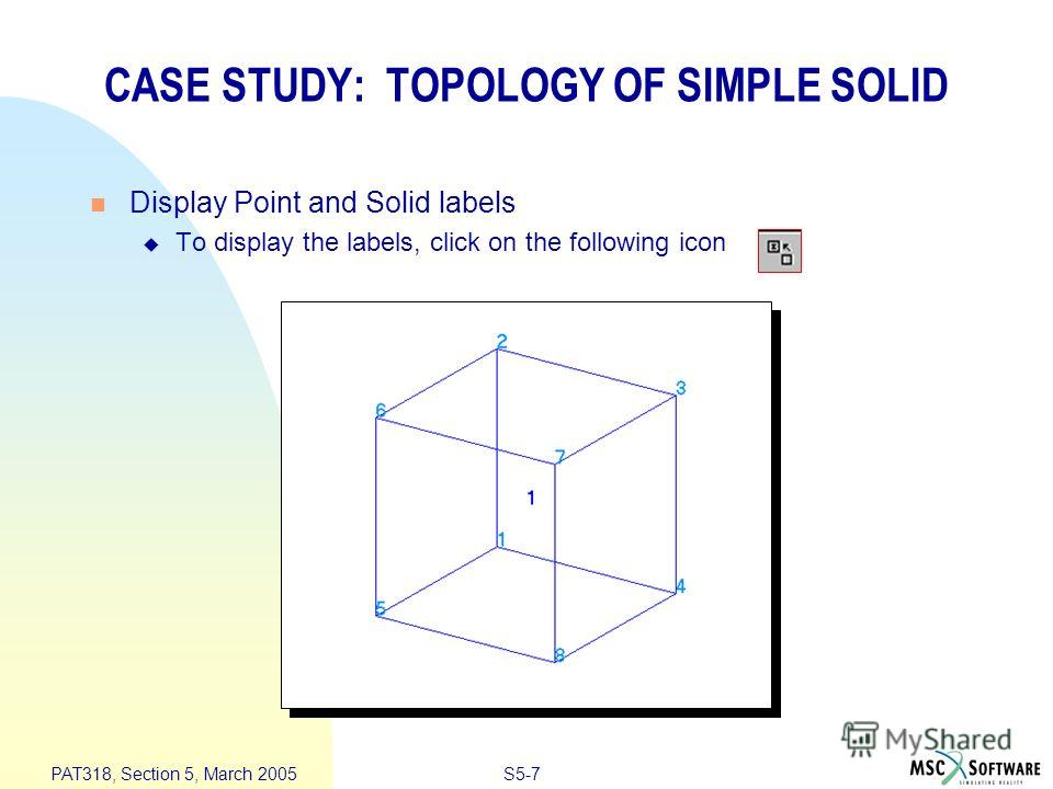 S5-7 PAT318, Section 5, March 2005 Display Point and Solid labels To display the labels, click on the following icon CASE STUDY: TOPOLOGY OF SIMPLE SOLID