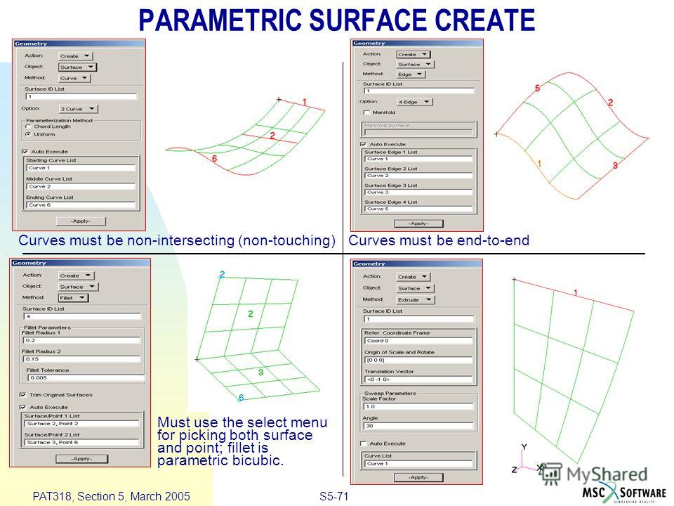 S5-71 PAT318, Section 5, March 2005 PARAMETRIC SURFACE CREATE Curves must be non-intersecting (non-touching)Curves must be end-to-end Must use the select menu for picking both surface and point; fillet is parametric bicubic.