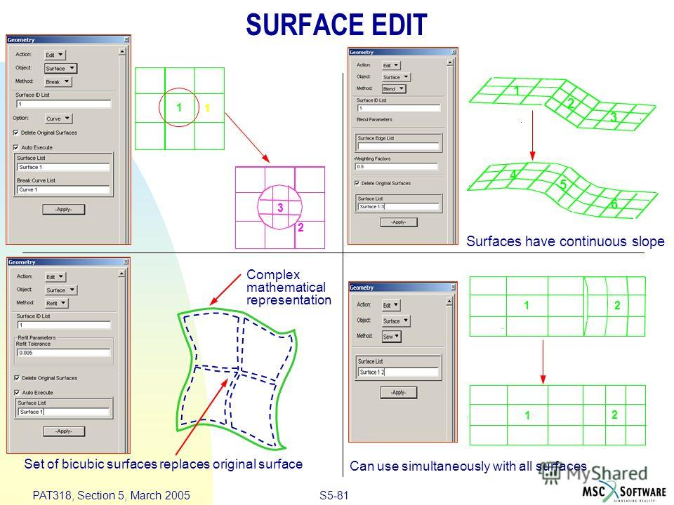 S5-81 PAT318, Section 5, March 2005 SURFACE EDIT Set of bicubic surfaces replaces original surface Complex mathematical representation 1 2 3 1 4 2 3 5 6 1 12 2 1 Can use simultaneously with all surfaces Surfaces have continuous slope
