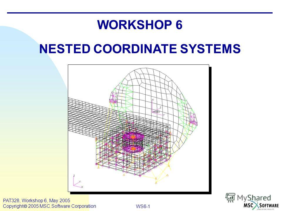 WS6-1 PAT328, Workshop 6, May 2005 Copyright 2005 MSC.Software Corporation WORKSHOP 6 NESTED COORDINATE SYSTEMS