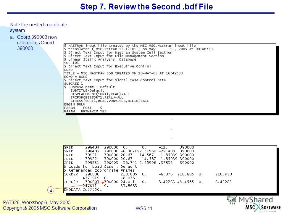 WS6-11 PAT328, Workshop 6, May 2005 Copyright 2005 MSC.Software Corporation Step 7. Review the Second.bdf File Note the nested coordinate system. a.Coord 390003 now references Coord 390000....... a