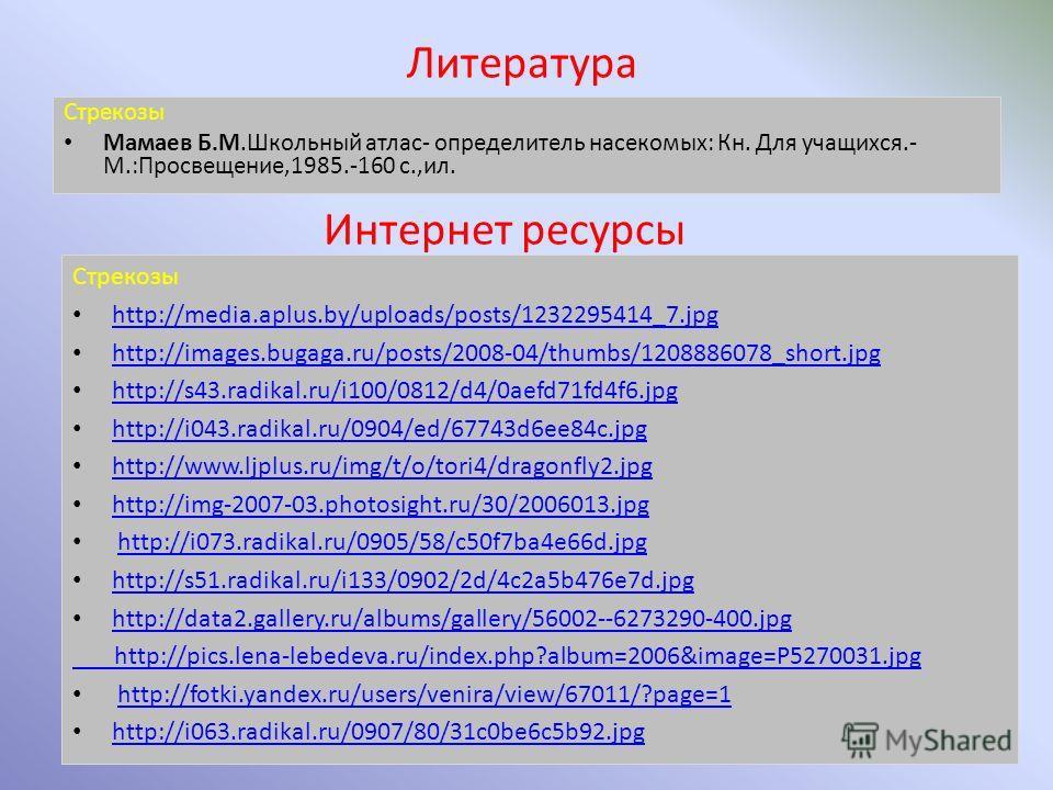 Интернет ресурсы Стрекозы http://media.aplus.by/uploads/posts/1232295414_7. jpg http://images.bugaga.ru/posts/2008-04/thumbs/1208886078_short.jpg http://s43.radikal.ru/i100/0812/d4/0aefd71fd4f6. jpg http://i043.radikal.ru/0904/ed/67743d6ee84c.jpg htt
