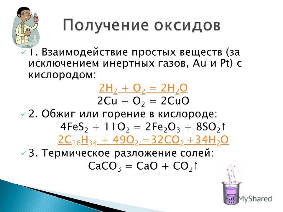 1. Взаимодействие простых веществ (за исключением инертных газов, Au и Pt) с кислородом: 2H 2 + O 2 = 2H 2 O 2Сu + O 2 = 2СuO 2. Обжиг или горение в кислороде: 4FeS 2 + 11O 2 = 2Fe 2 O 3 + 8SO 2 2С 16 Н 34 + 49О 2 =32СО 2 +34H 2 O 3. Термическое разл