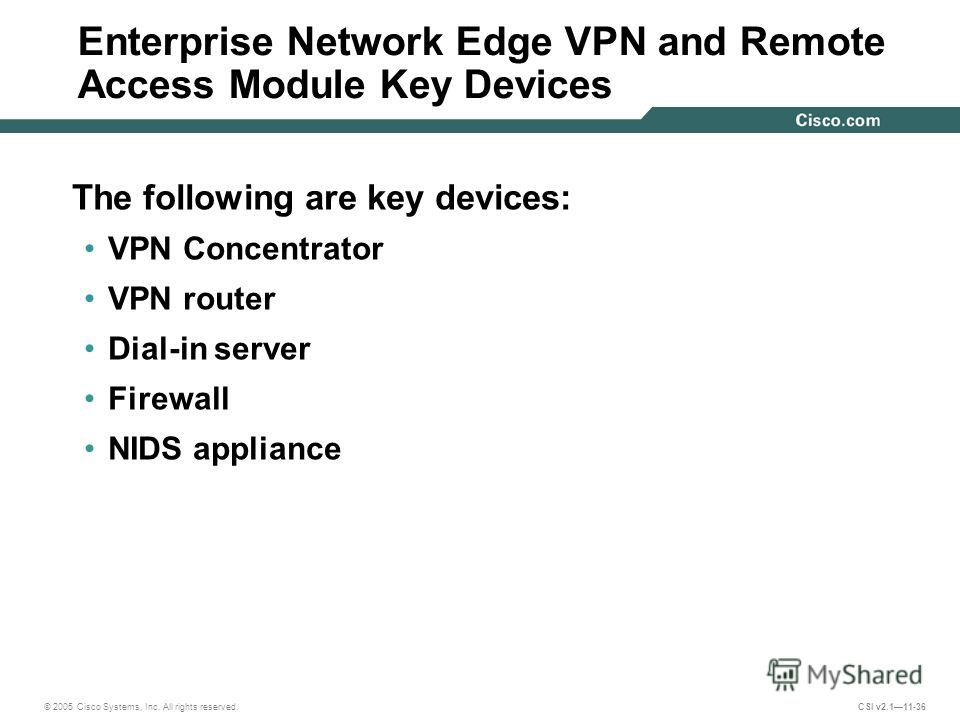 © 2005 Cisco Systems, Inc. All rights reserved. CSI v2.111-36 Enterprise Network Edge VPN and Remote Access Module Key Devices The following are key devices: VPN Concentrator VPN router Dial-in server Firewall NIDS appliance