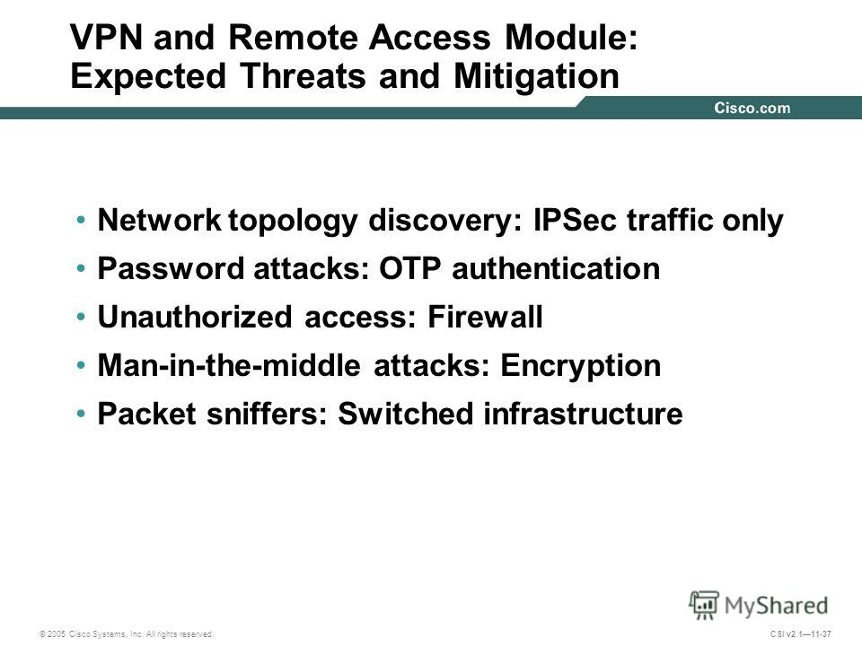 © 2005 Cisco Systems, Inc. All rights reserved. CSI v2.111-37 Network topology discovery: IPSec traffic only Password attacks: OTP authentication Unauthorized access: Firewall Man-in-the-middle attacks: Encryption Packet sniffers: Switched infrastruc