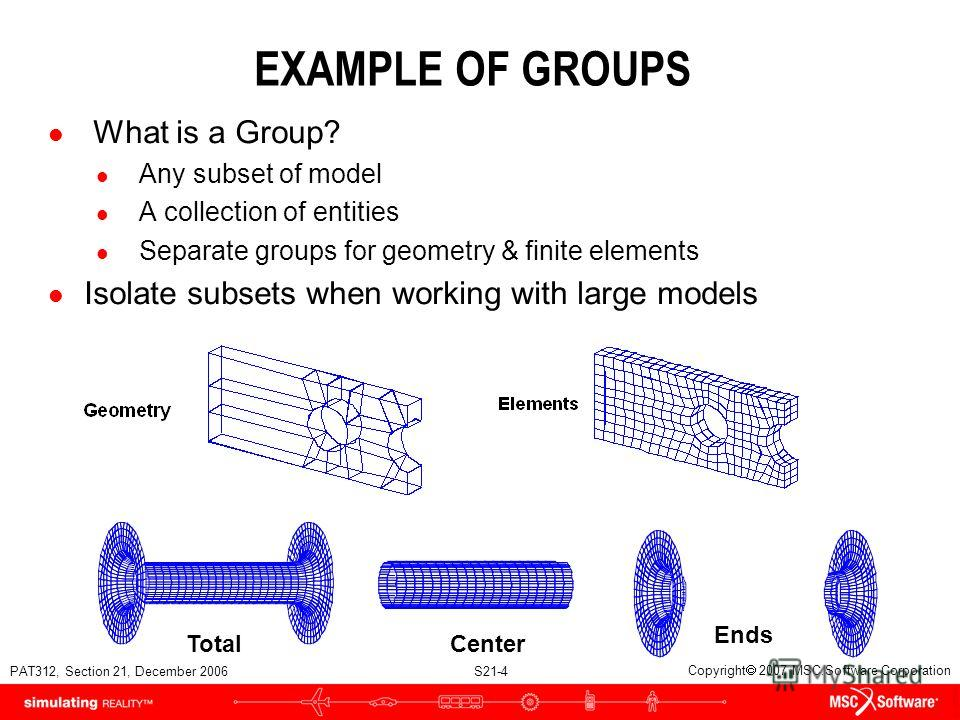 PAT312, Section 21, December 2006 S21-4 Copyright 2007 MSC.Software Corporation EXAMPLE OF GROUPS l What is a Group? l Any subset of model l A collection of entities l Separate groups for geometry & finite elements l Isolate subsets when working with