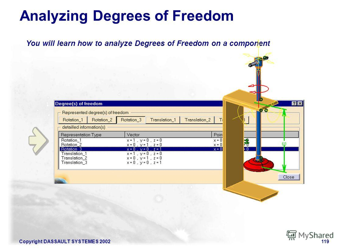 Copyright DASSAULT SYSTEMES 2002119 You will learn how to analyze Degrees of Freedom on a component Analyzing Degrees of Freedom