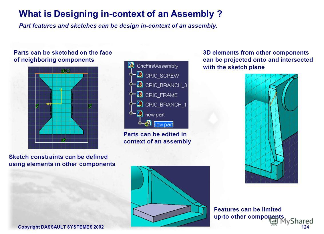 Copyright DASSAULT SYSTEMES 2002124 Part features and sketches can be design in-context of an assembly. What is Designing in-context of an Assembly ? Parts can be sketched on the face of neighboring components 3D elements from other components can be