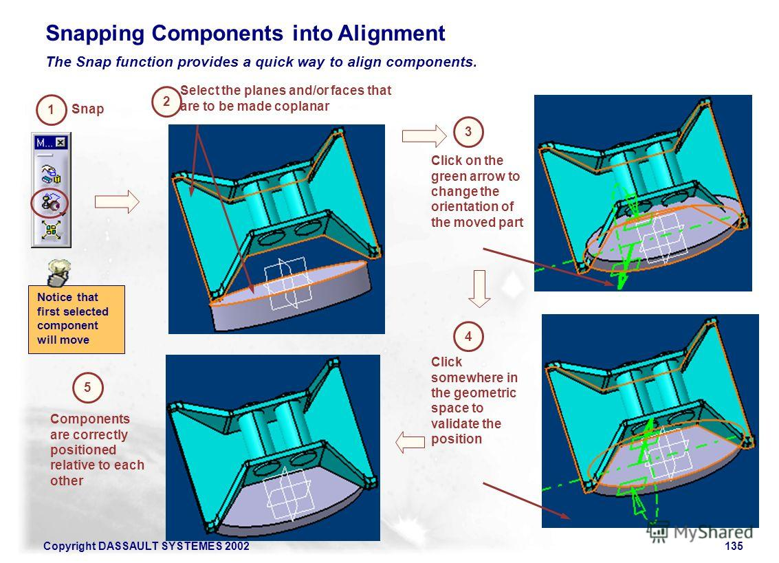 Copyright DASSAULT SYSTEMES 2002135 Snapping Components into Alignment The Snap function provides a quick way to align components. Snap 1 2 Select the planes and/or faces that are to be made coplanar 3 Click on the green arrow to change the orientati