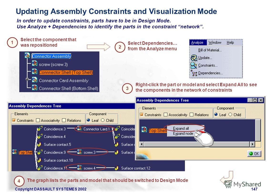 Copyright DASSAULT SYSTEMES 2002147 In order to update constraints, parts have to be in Design Mode. Use Analyze + Dependencies to identify the parts in the constraint network. Select Dependencies… from the Analyze menu Select the component that was
