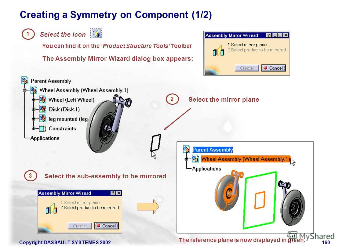 Copyright DASSAULT SYSTEMES 2002160 Creating a Symmetry on Component (1/2) Select the icon You can find it on the Product Structure Tools Toolbar 1 2 The Assembly Mirror Wizard dialog box appears: The reference plane is now displayed in green. Select