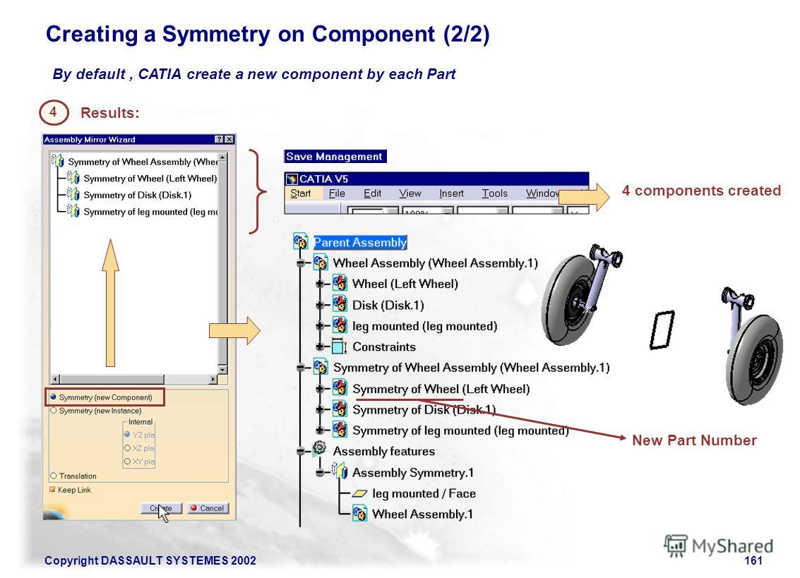 Copyright DASSAULT SYSTEMES 2002161 Creating a Symmetry on Component (2/2) By default, CATIA create a new component by each Part 4 Results: 4 components created New Part Number