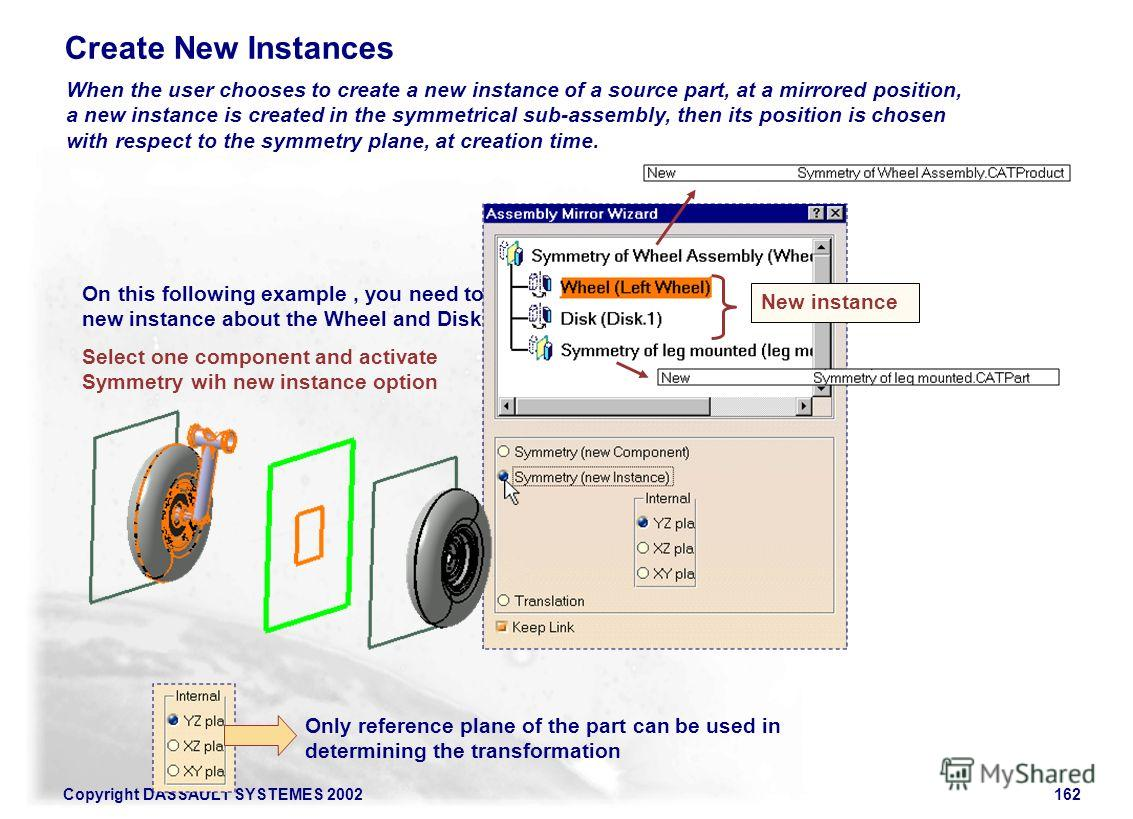 Copyright DASSAULT SYSTEMES 2002162 Create New Instances On this following example, you need to create new instance about the Wheel and Disk Parts. Select one component and activate Symmetry wih new instance option New instance When the user chooses